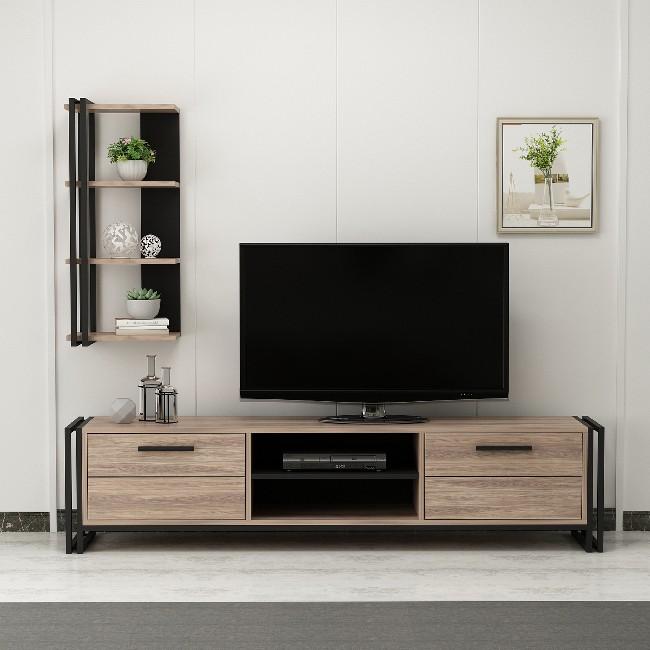 Meuble Tv Avec Bibliothèque homemania meuble tv lesa moderne avec bibliothèque - avec portes, étagères  - pour salon - noir en bois, métal 192 x 35 x 45 cm